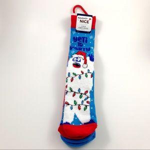 New Christmas Abominable Snowman Socks Size 6-12.5